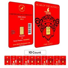 Lot of 10 - 1 Gram Gold Lunar Year of the Monkey Bullion Exchanges Istanbul IGR in Coins & Paper Money, Bullion, Gold, Bars & Rounds | eBay