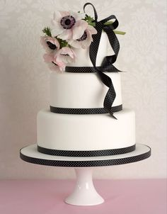 Peggy Porschen Cakes has a selection of Birthday cakes and cupcakes. Black And White Wedding Cake, White Wedding Cakes, Beautiful Wedding Cakes, Beautiful Cakes, Black White Cakes, Gorgeous Gorgeous, Ribbon Wedding, Beautiful Bouquets, Pink Black