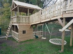 We will place swings beneath bridges in order that we utilise all of the area doable Backyard Fort, Kids Backyard Playground, Backyard Playset, Backyard For Kids, Backyard Projects, Outdoor Projects, Backyard Landscaping, Backyard Treehouse, Backyard Games