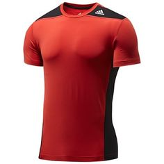 Camiseta Adidas Men's Techfit Base Fitted Tee Hi Res Red Black F83374 #Camiseta #Adidas