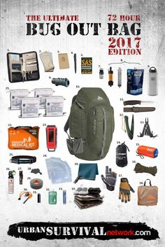 1. Travel Document Holder 2. Maps of the Local Area 3. Rite in the Rain Notebook 4. Tactical Pen 5. SAS Survival Handbook 6. Polaris Optics 12X50 Monocular 7. Potable Aqua Water Tablets 8. Sawyer Mini Water Filtration System 9. Klean Kanteen Wide Mouth Bottle 64oz 10. Kelty Redwing 50 Backpack 11. Morakniv Companion …