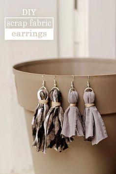 Diy Tassel Earrings, Tassel Earing, Fabric Earrings, Tiny Earrings, Tassel Jewelry, Textile Jewelry, Fabric Jewelry, Statement Earrings, Ribbon Jewelry