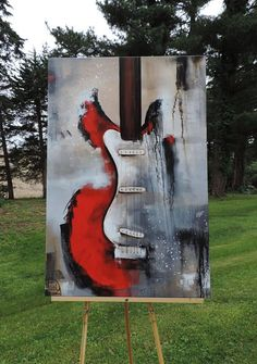 Guitar Painting Abstract Painting Red White & Black #abstractart