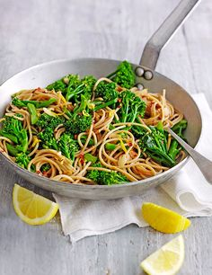 This recipe for wholewheat spaghetti with long-stemmed broccoli, chilli and lemon is quick and easy to make and vegan. Plus, it's pasta for under 500 calories - yes please