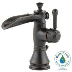 Delta Cassidy Single Hole Single-Handle Open Channel Spout Bathroom Faucet in Venetian Bronze with Metal Pop-Up