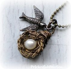 vintage birds nest necklace
