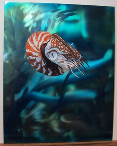 """Acrylic nautilus on aluminum with candy paints and ground aluminum, 8""""x10"""" for 30x30 show in Ann Arbor Michigan."""