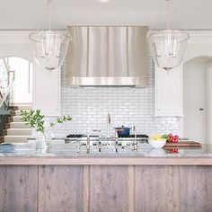 Two Glass Bell Jar Lanterns Over Stained Kitchen Island, Transitional, Kitchen