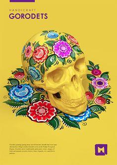 Russian folk paintings on skulls by Sasha Vinogradova