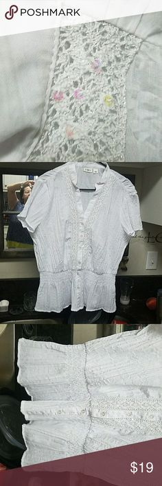 Cato white  no ironing size L Sequins next to to buttons.  It has a peplum  below the elastic waist. Tops Blouses