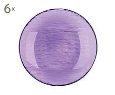 Set de 6 platos hondos de vidrio Scratch, lila - Ø21 cm