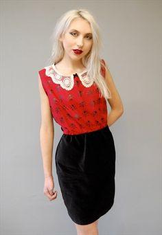 Little Red Ladybug Velvet Dress