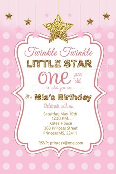 Twinkle twinkle little star first birthday invites in pink and gold