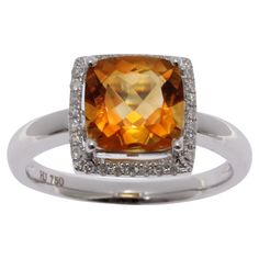 Stunning 18ct white gold, 2.19ct Citrine & Diamond Ring #graysonline #auction #ring #citrine