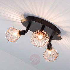 Deckenrondell Dalma mit trendigen Kupfer-Gitterschirmen,