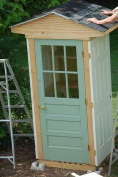 This little shed is a great way to protect your garden tools and recycle some old doors that would otherwise become landfill. You could even store the kids' outdoor toys in it. It was made with four doors as the sides. Isn't it a clever idea? Perfect if you have a small yard and have only a few simple garden tools around. :) Materials: 4 Doors Extra Wood Boards - for foundation and shelving Roof Shingles Screws Nails Wood Coating Paint Hinges Door Knob Hooks Tools: Drill Hammer Paint...