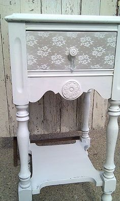 shabby chic furniture for sale Lace Painted Furniture, Refurbished Furniture, Paint Furniture, Repurposed Furniture, Shabby Chic Furniture, Furniture Projects, Furniture Makeover, Home Projects, Lace Painting
