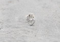 Single Mini Heart Stud Cartilage Earring by wirewrap on Etsy