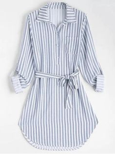 Stripe Fall and Spring Yes Striped Long Shirt Knee-Length Straight Causal and Going Casual Belted Striped Long Sleeve Shirt Dress Striped Long Sleeve Shirt, Long Sleeve Shirt Dress, Long Sleeve Shirts, Dress Long, Casual Dresses, Fashion Dresses, Summer Dresses, Hijab Look, Diy Vetement
