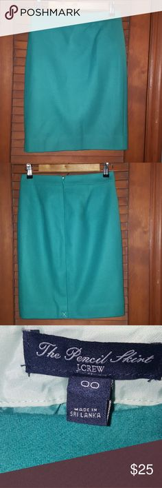 "J Crew Pencil Skirt This is a beautiful wool pencil skirt from J Crew. It's new with the tag still attached (the slit hasn't even been opened). It's 20"" long and the slit is 61/2"". The color is hard to describe but the pictures make it look a little more teal than it actually is. I would say its a minty teal. I will look on there website for a stock picture to post understanding of the color. Please don't hesitate to ask me any questions I will do my best to answer them. Any reasonable…"