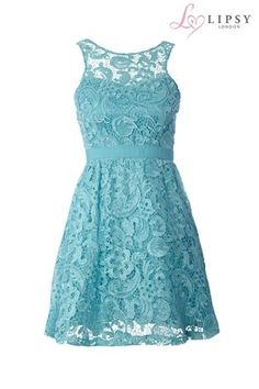 Lipsy Waxed Lace Prom Dress