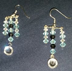 Pretty Ice Blue and Crystal Chandeliers by PleinDesign on Etsy