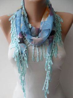 Blue Flowered Scarf with Blue Trim Edge  Summer