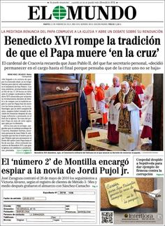 Los Titulares y Portadas de Noticias Destacadas Españolas del 12 de Febrero de 2013 del Diario El Mundo ¿Que le parecio esta Portada de este Diario Español?