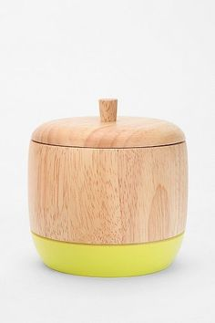 dipped wood box - yellow