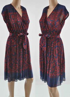 P.C.F. Petites Styled by Hal Ferman Blue Dress with Red Floral Design Dress