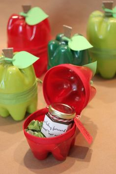 Cute teacher #do it yourself gifts (or for Rosh Hashanah) :-). Are these made from the bottoms of bottles? So cute!