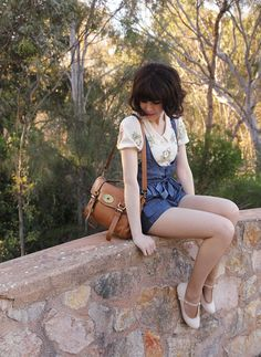 Alannah Hill 'All for Glory' floral top with peter pan collar in creme, Modcloth denim romper overalls shorts,Mini 'Alexa' satchel C/O My Leather, Le Blog de Sushi woodland bird ring, Rubi plaited T-bar ankle strap white flats