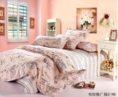 Home textile,Reactive Print 4Pcs bedding sets luxury include Duvet Cover Bed sheet Pillowcase,Queen Full  size