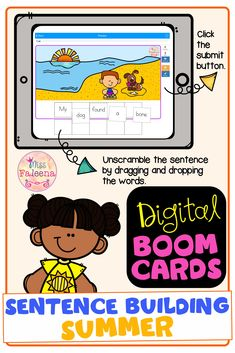 This resource is a digital task card on Boom Learning. It has 1 deck with 30 slides of sentence building. This resource is perfect for kindergarten and first grade students. Pre-K | Kindergarten | First Grade | Reading | Sentence Building | Summer | June | Boom Learning | Boom Cards | Digital Task Cards