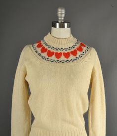 Vintage 1970s Sweater 70s Sweater wool hearts   #Vintage #Fashion #Sweater