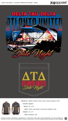 Delta Tau Delta Atlanta United Date Party Shirt | Fraternity Atlanta United Date Party | Greek Atlanta United Date Party #deltataudelta #dtd #Atlanta #United #Date #Party #retro #classic #design
