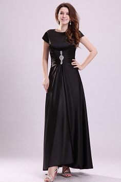 Black A-Line V-Neck Cocktail Dress ted2236 - SILHOUETTE: A-Line; FABRIC: Satin; EMBELLISHMENTS: Draped; LENGTH: Ankle Length - Price: 168.7400 - Link: http://www.theeveningdresses.com/black-a-line-v-neck-cocktail-dress-ted2236.html