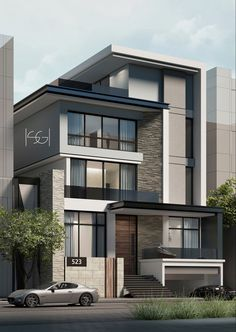 modern house design tips and features Modern Exterior House Designs, Modern House Facades, Modern House Plans, Modern House Design, Exterior Design, 3 Storey House Design, Duplex House Design, House Front Design, House Architecture Styles