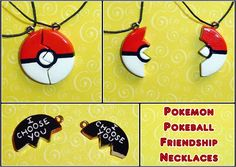 Pokeball Friendship Necklace Charms by *YellerCrakka on deviantART