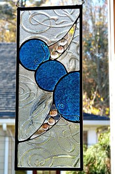 Stained Glass Panel Beautiful Cobalt Blue Circles by miloglass, $50.00