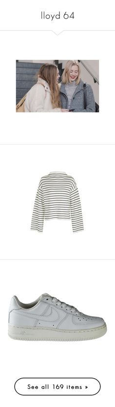 """""""lloyd 64"""" by serin123 ❤ liked on Polyvore featuring tops, sweaters, jumpers, shirts, ivory, striped shirt, white shirt, funnel neck sweater, white sweater and striped sweater"""
