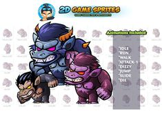 Beast Monster Game sprites Set by DionArtworks on 2d Character Animation, Shooting Games, Game Assets, Sprites, Character Illustration, Beast, Character, Shooter Games, Fairies