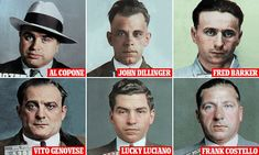 America's most notorious criminals' mugshots expertly colorized Mafia Crime, Creepy Smile, Chicago Outfit, Mafia Gangster, Al Capone, Police, The Godfather, Mug Shots, American History
