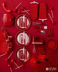Spice up the new year by sprinkling red accents around your home. #design #kitchen