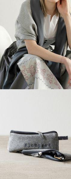 Schultertuch aus Loden und Dirndl-Stoff und Federtasche bestickt aus Loden und Dirndl-Stoff