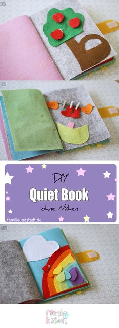 DIY Quietbook no sew ideas for toddlers, Quiet Book ohne Nähen selber machen für Kinder