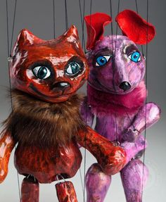 Cat and Mouse Czech Marionettes are wonderful couple of friends puppets made of ceramic. Bright colours and fun design will spice up any interior or collection. Puppet Making, Puppets, Cool Designs, Colours, Cats, Fun, Animals, Fictional Characters, Gatos