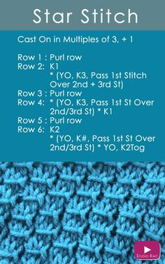 Learn how to Knit the Star Stitch: Receive Easy Free Knitting Pattern + Video Tutorial Knitting Stiches, Knitting Charts, Easy Knitting, Loom Knitting, Knitting Needles, Knitting Patterns Free, Stitch Patterns, Knit Stitches, Loom Patterns