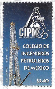 25 Aniversario del Colegio de Ingenieros Petroleros de Mèxico. Torre de Extracción e Ingeniero Petrolero.