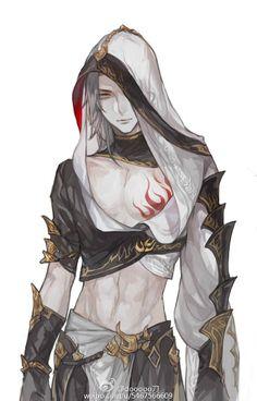 Male Human Dark Mage Sorcerer White Hair Robes